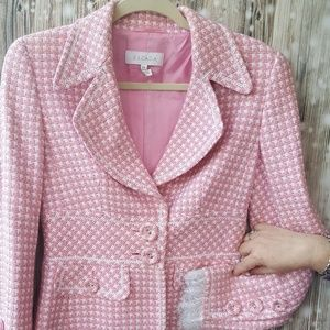 A pink and white Tweed Escada jacket